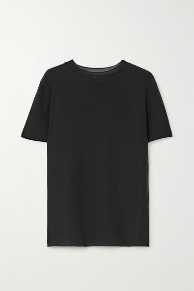 Joseph Rubin Ribbed Knit-trimmed Silk-crepe T-shirt In Black