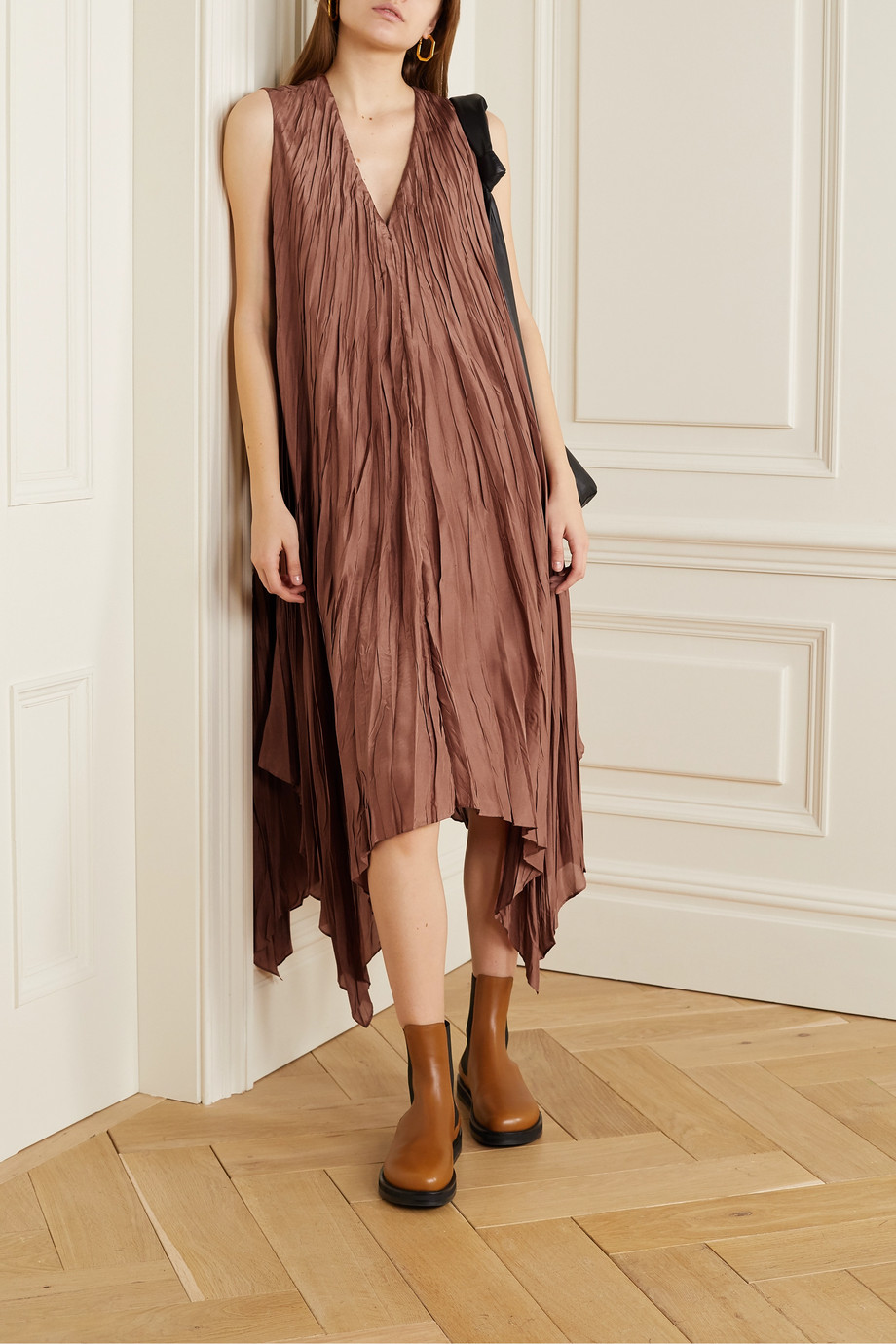 Joseph Asymmetric crinkled silk-satin midi dress