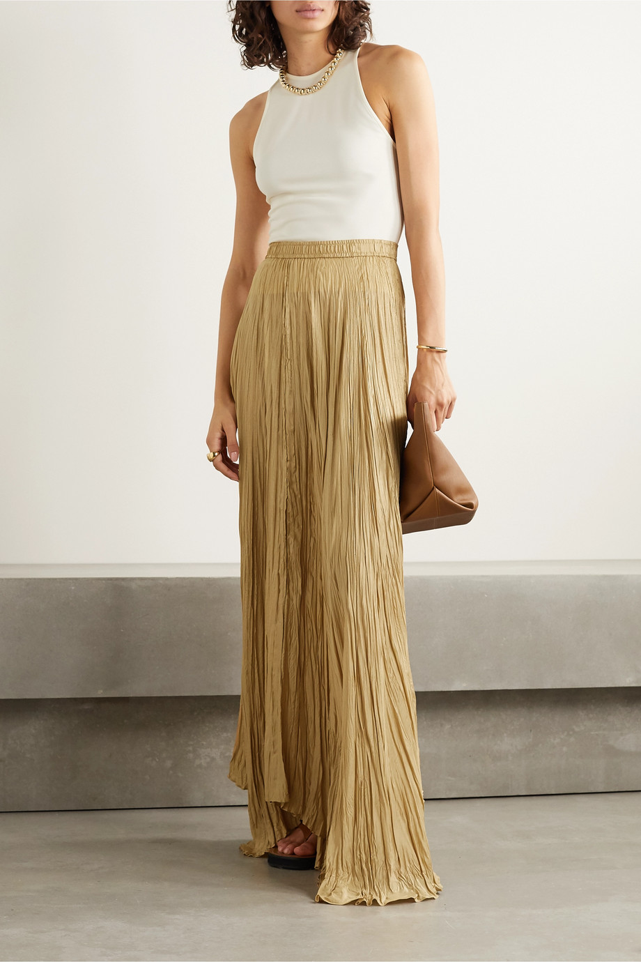 Joseph Nanco crinkled silk-satin maxi skirt
