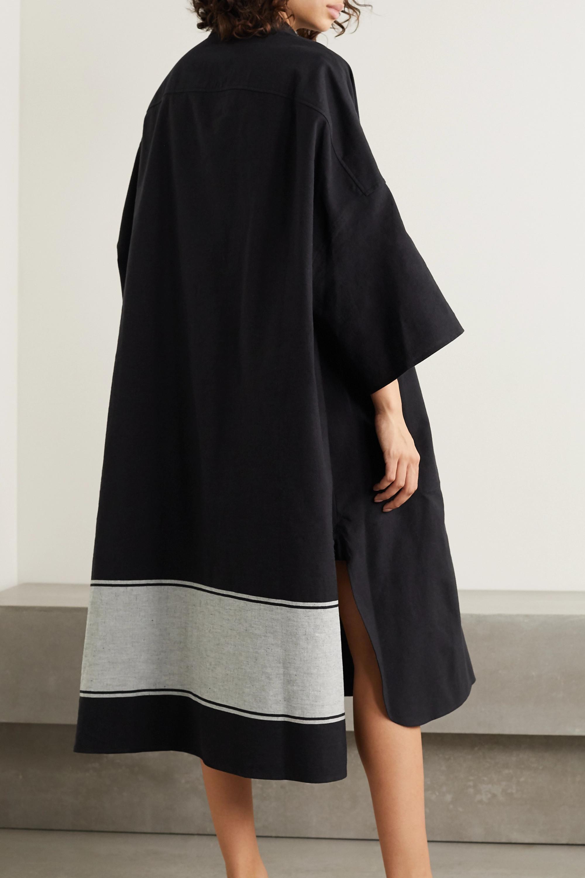 Joseph Baker oversized striped cotton and linen-blend midi dress