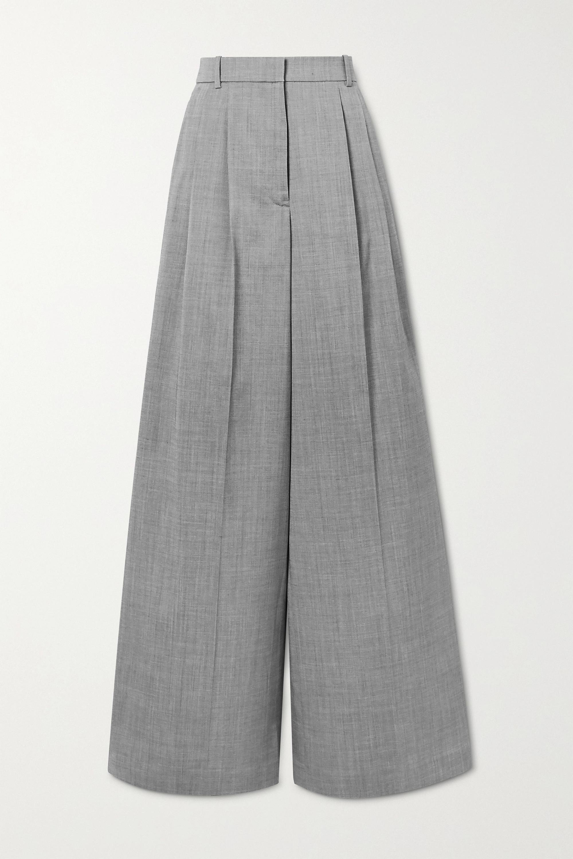 Joseph Benton pleated mélange wool-blend wide-leg pants