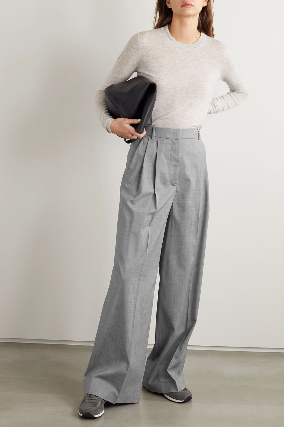 Joseph Benton pleated mélange wool-blend wide-leg pants