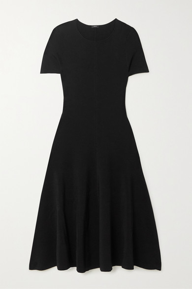 Joseph Berry Stretch-knit Midi Dress In Black