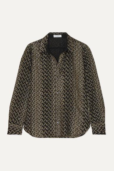 Equipment Leema Metallic Fil CoupÉ Silk-Blend Shirt In Gold