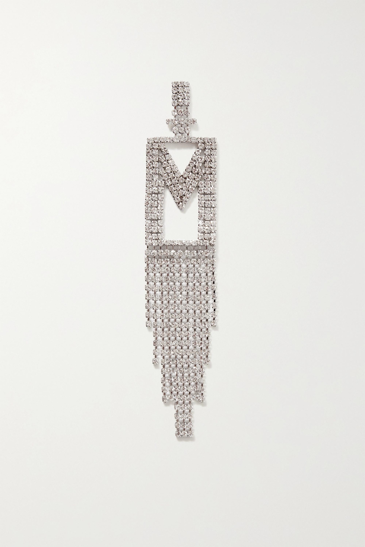 Retrofête Alphabet rhodium-plated crystal single earring