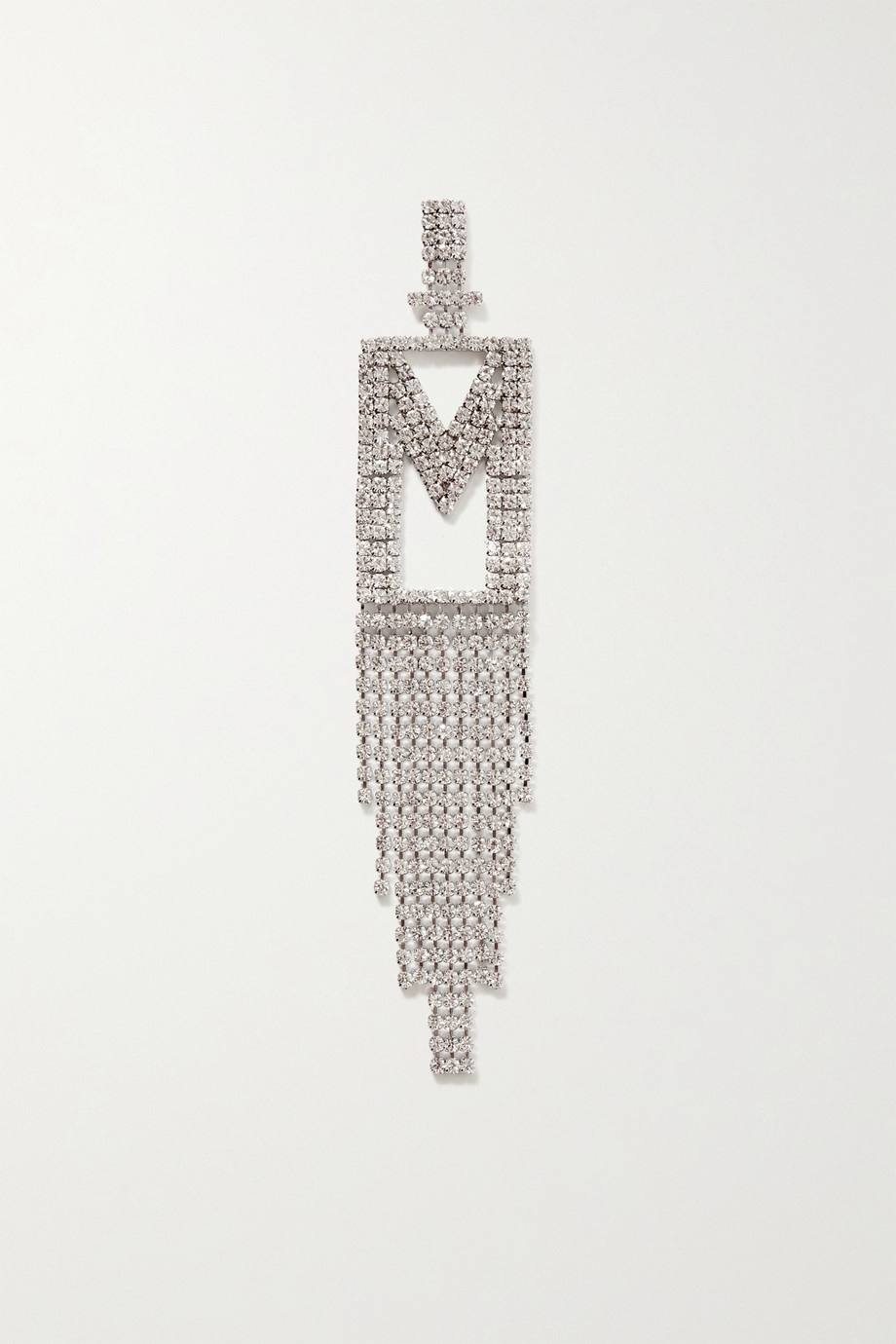 Retrofête Alphabet rhodium-plated crystal earring
