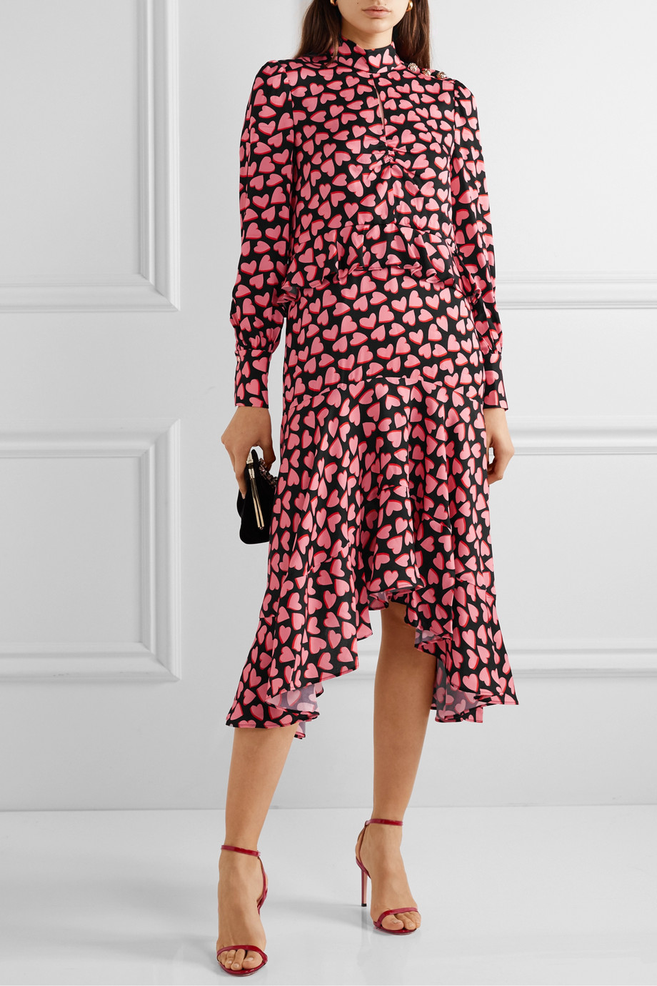 Rebecca Vallance Hotel Beau asymmetric ruffled printed crepe midi dress