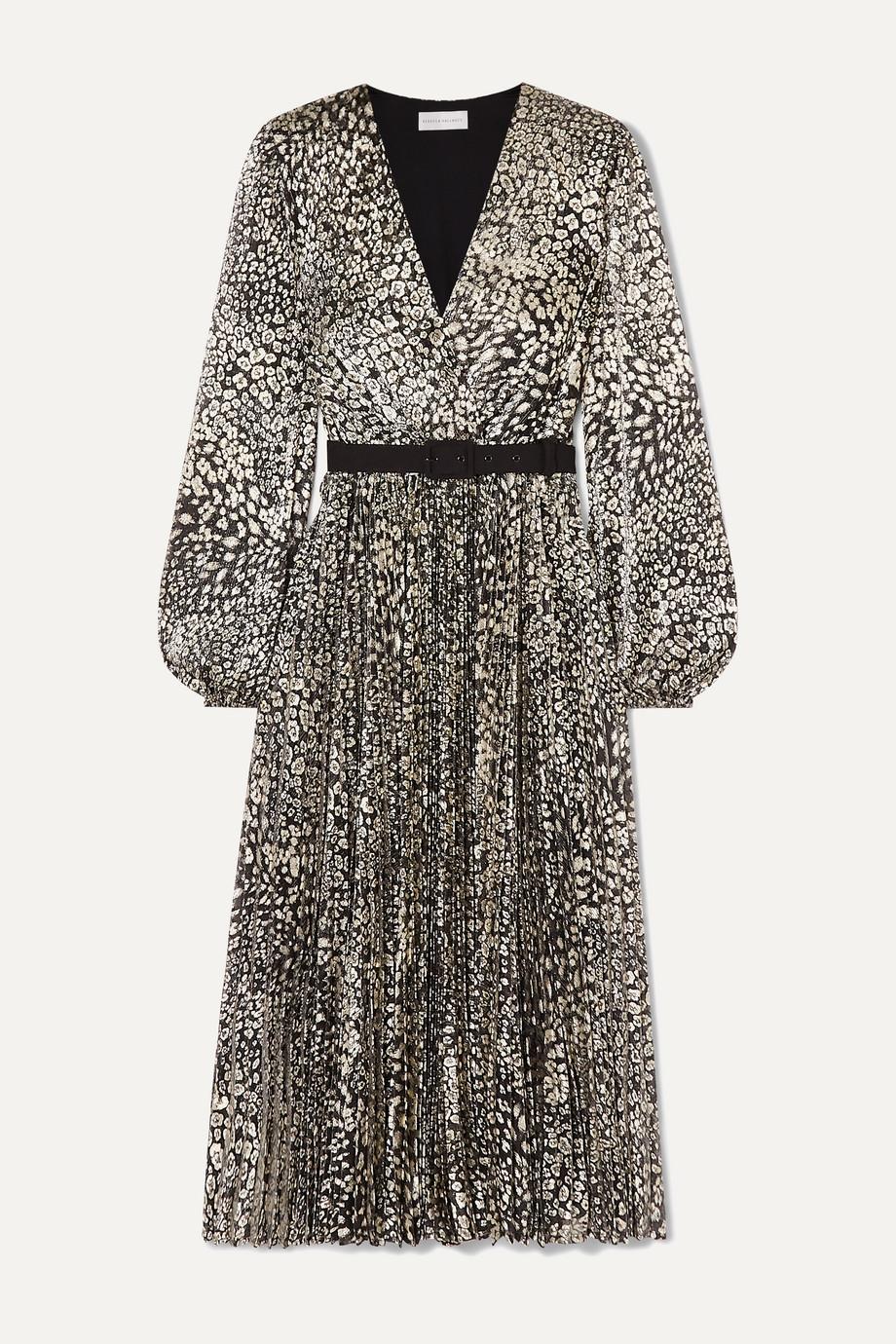 Rebecca Vallance Vienna belted metallic leopard-jacquard midi dress