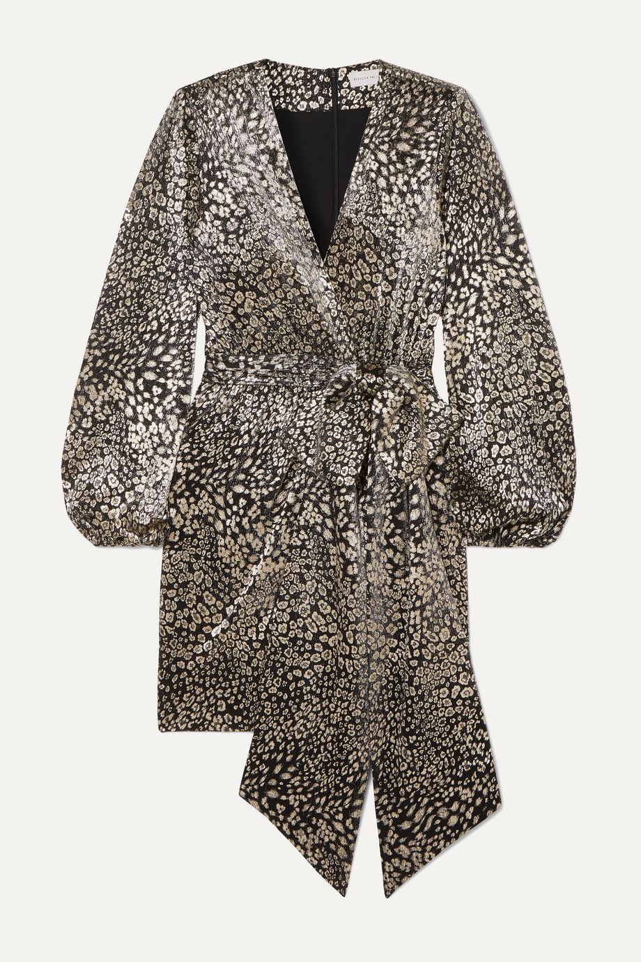Rebecca Vallance Vienna wrap-effect metallic leopard-jacquard mini dress