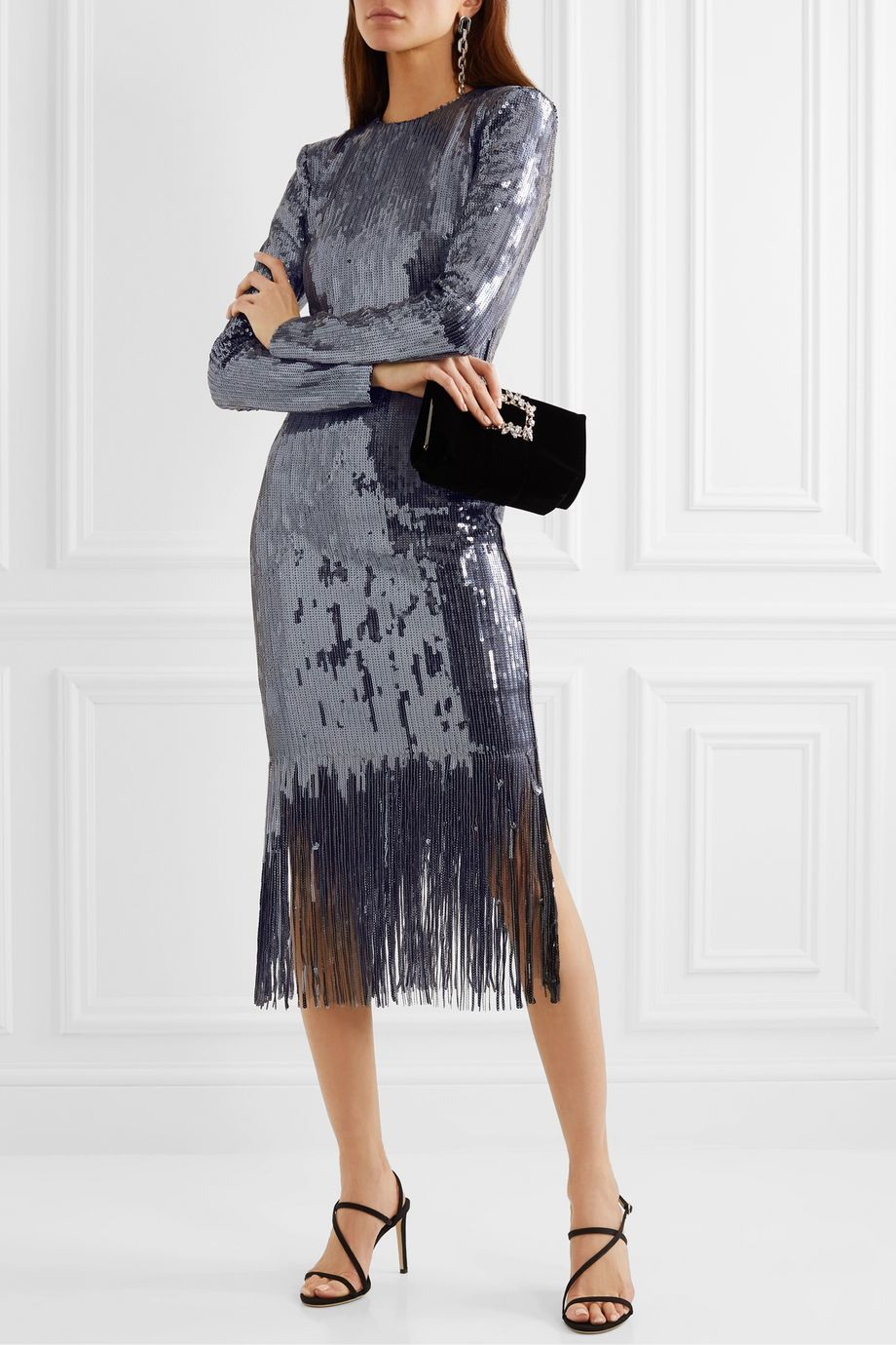 Rebecca Vallance Matisse fringed sequined crepe midi dress