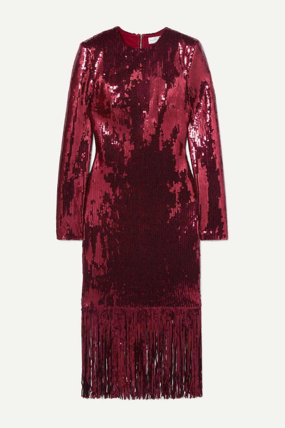 Rebecca Vallance Matisse fringed sequinned crepe midi dress