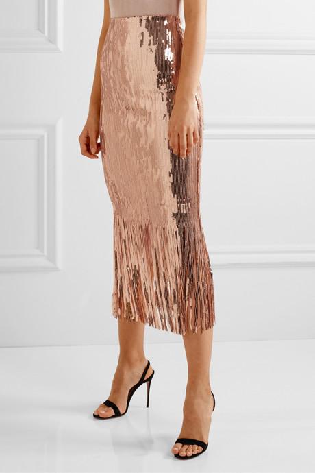 Matisse fringed sequined stretch-crepe midi skirt
