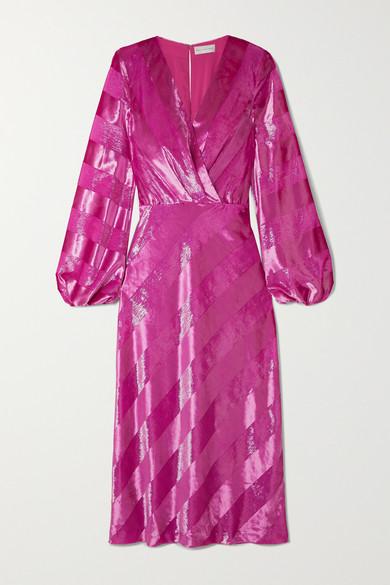 Maison Striped Metallic Velvet Midi Dress by Rebecca Vallance