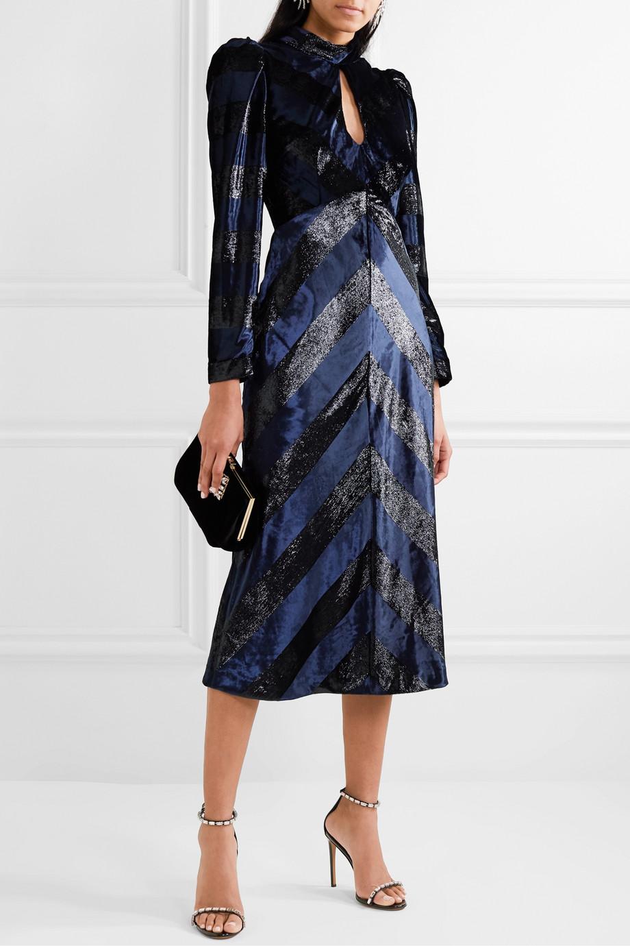 Rebecca Vallance Maison open-back striped metallic velvet midi dress