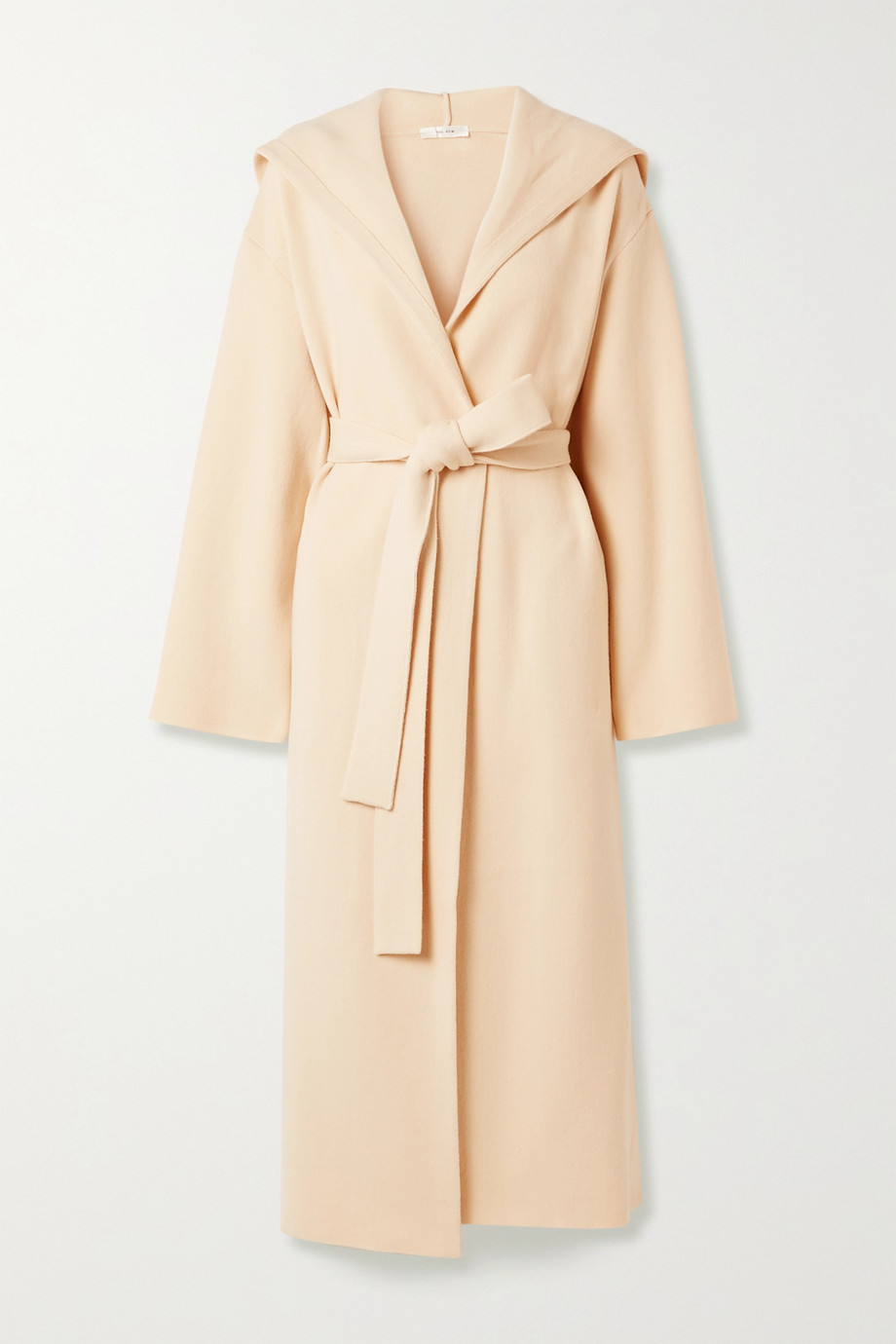 The Row Eliona belted hooded merino wool-blend coat