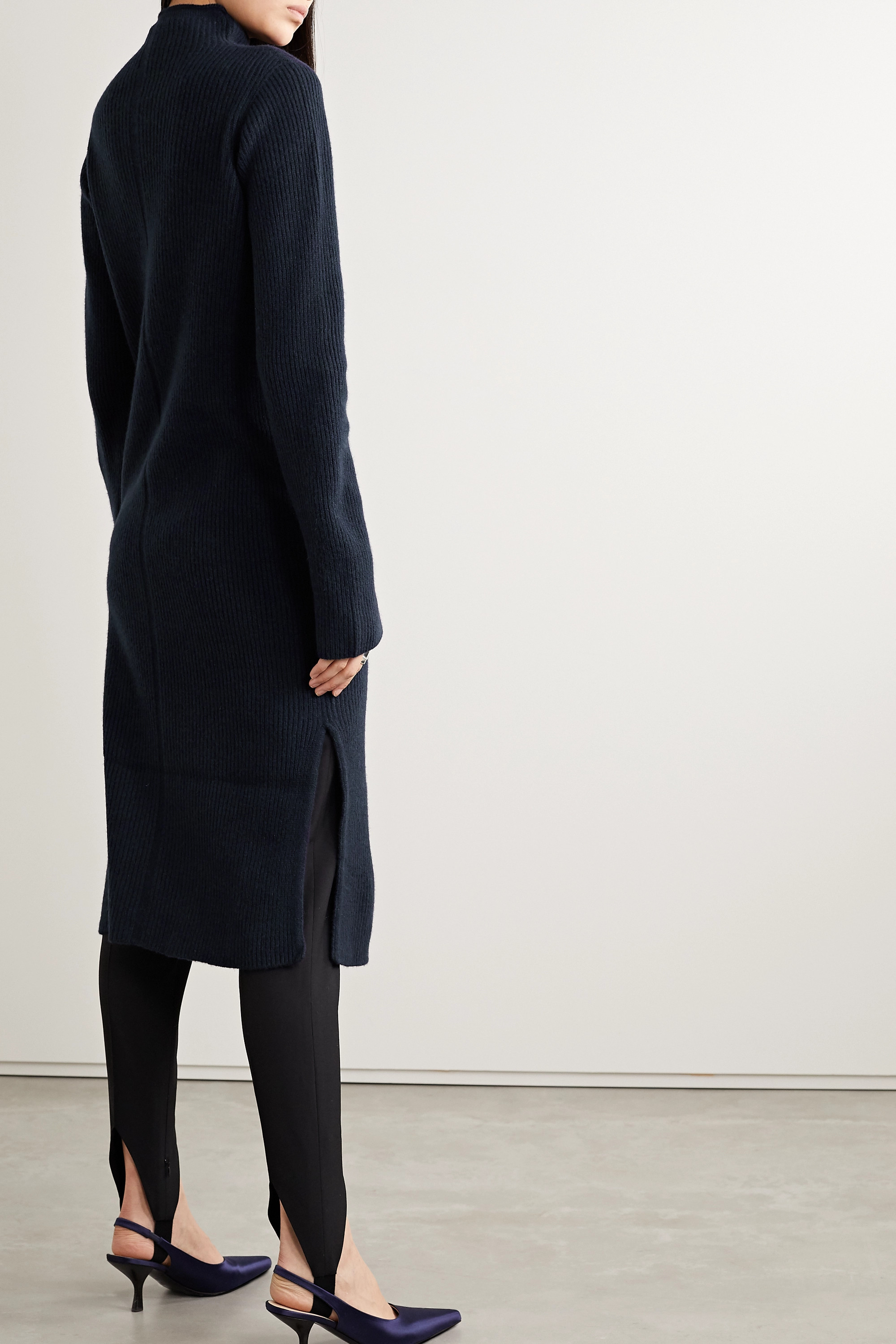The Row Moa ribbed wool and cashmere-blend turtleneck midi dress