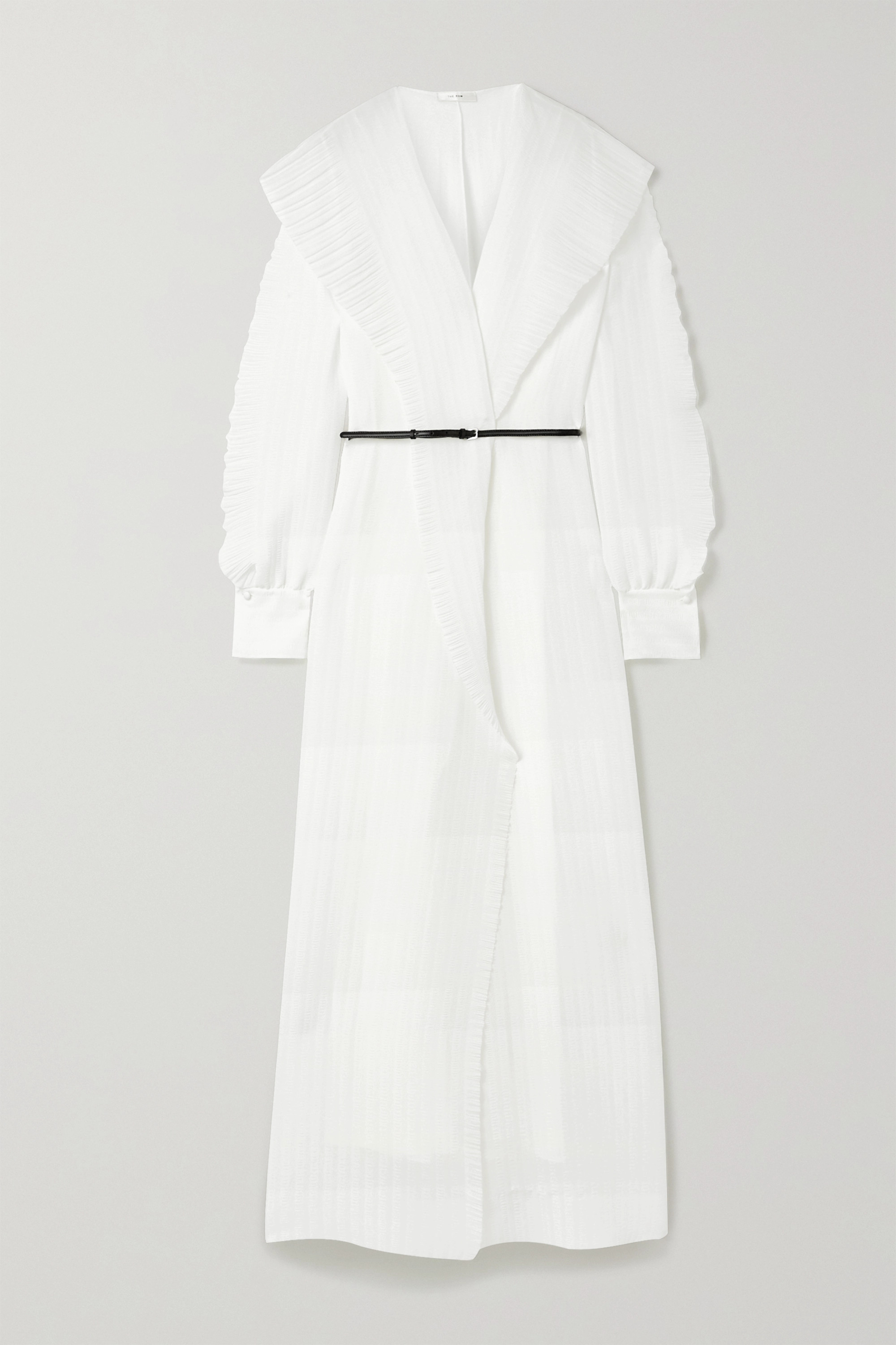 The Row Hania belted ruffled crinkled-chiffon gown