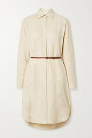 The Row Sonia belted striped jacquard dress