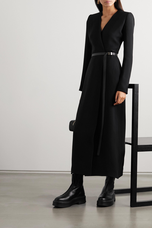 The Row Vana belted silk-cady wrap dress
