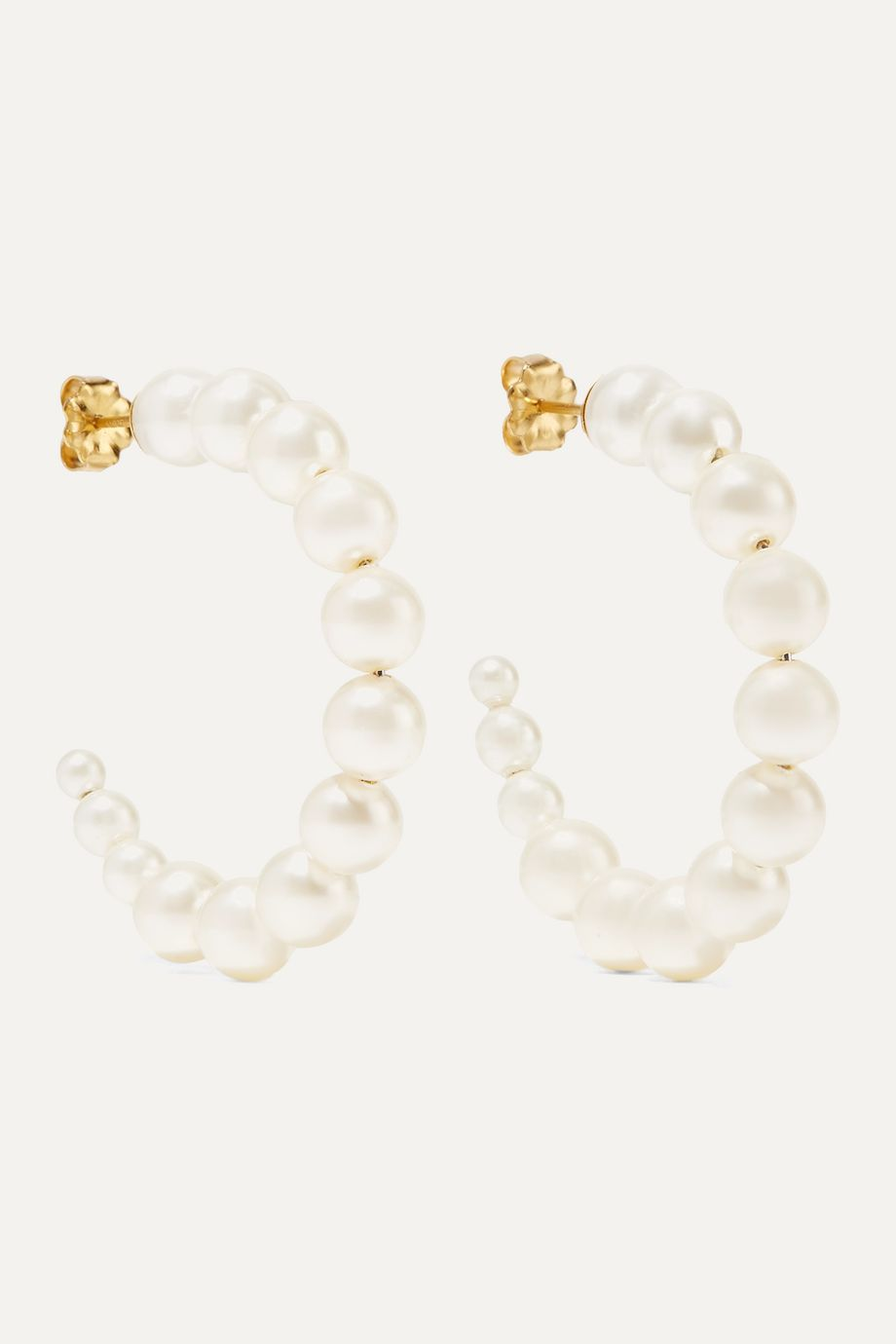 Chan Luu Gold-plated pearl hoop earrings