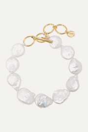 Gold-plated pearl bracelet