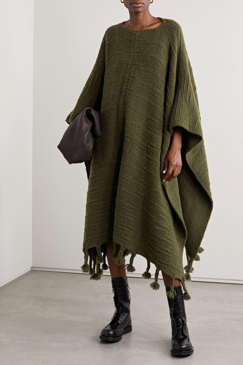 The Row Follain fringed merino wool-blend poncho