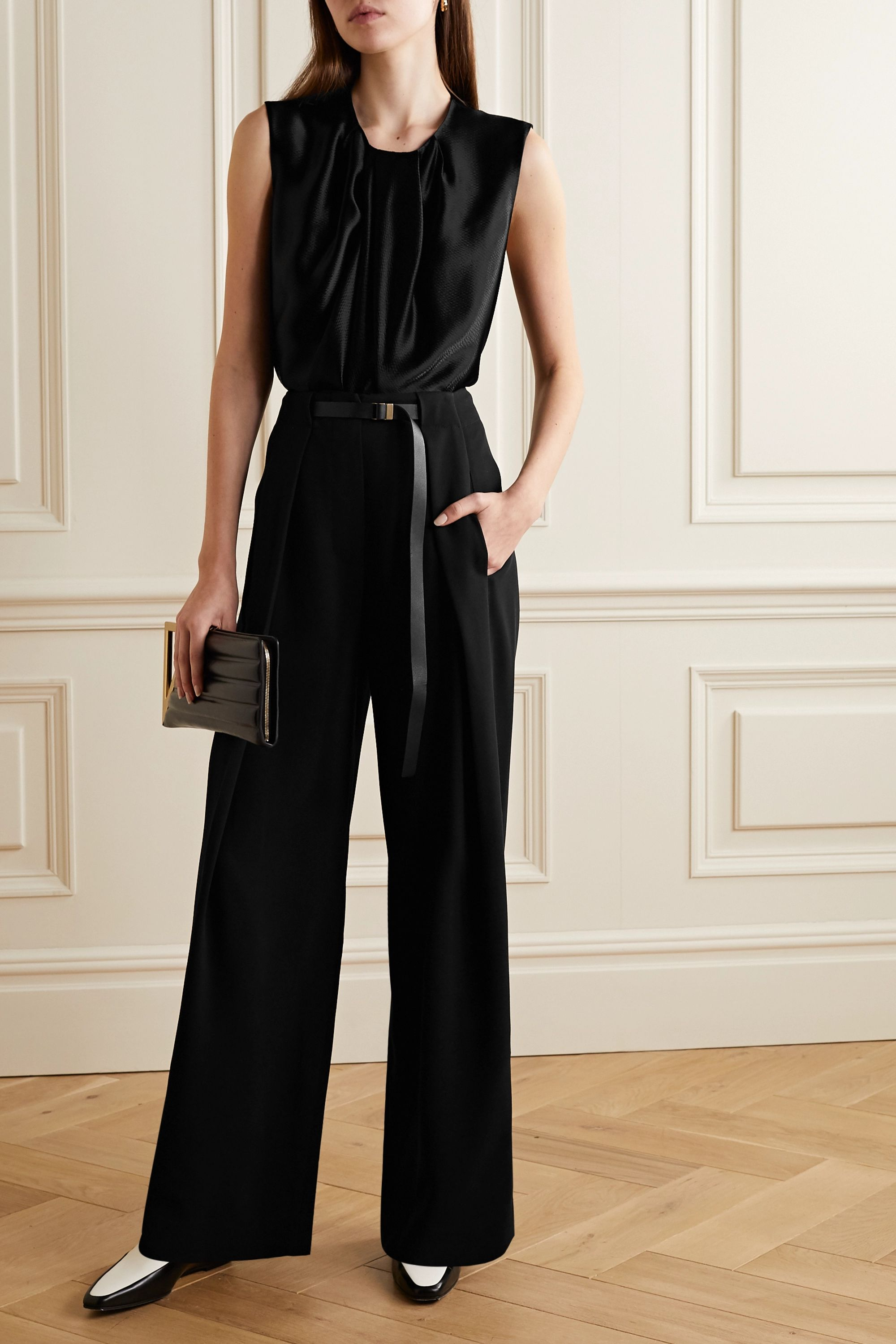 The Row Brona belted wool wide-leg pants