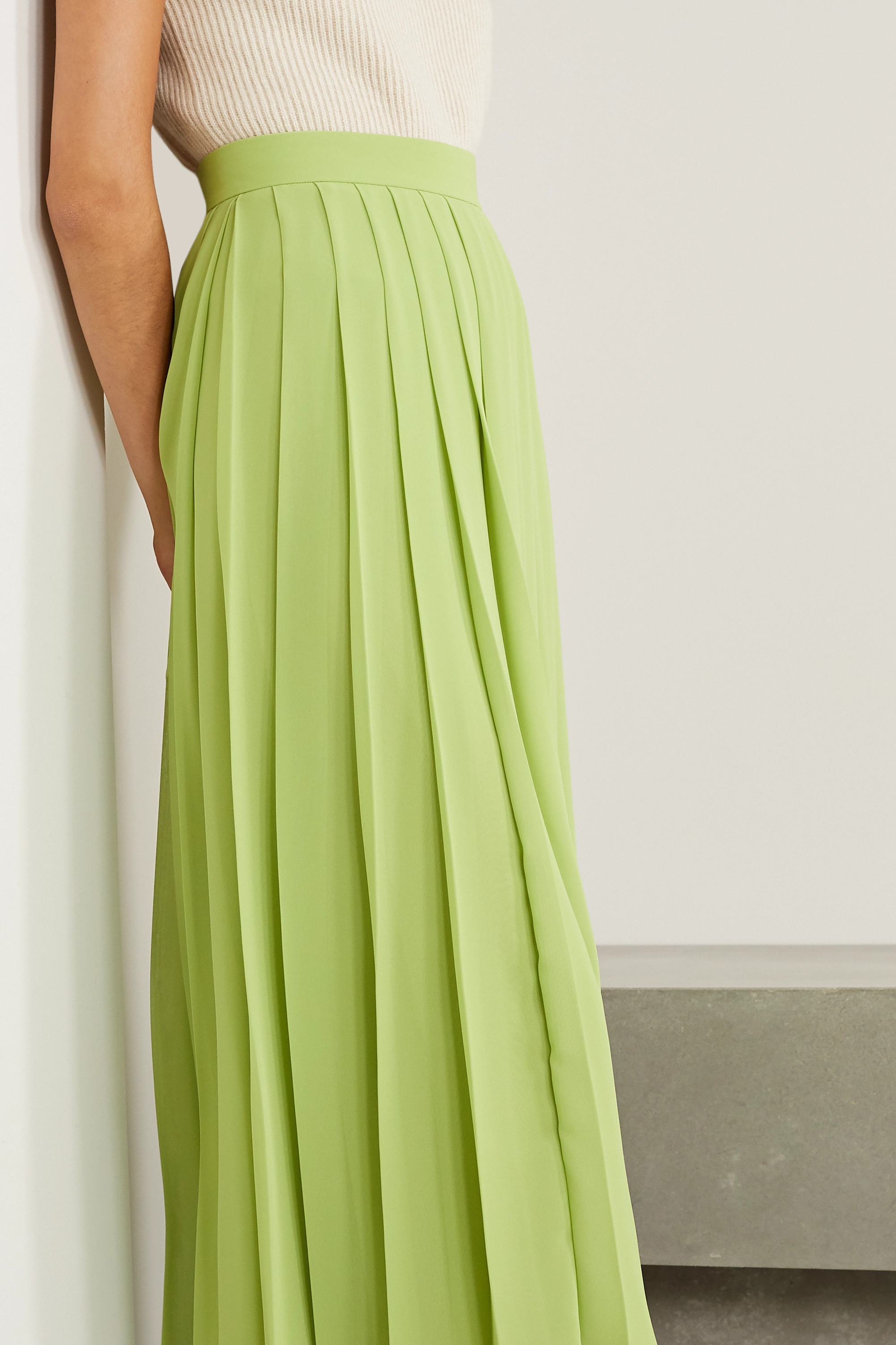 The Row Magda pleated chiffon midi skirt