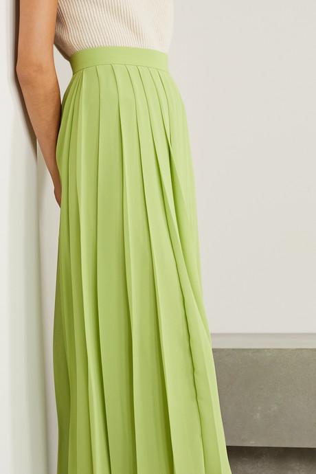 Magda pleated chiffon midi skirt