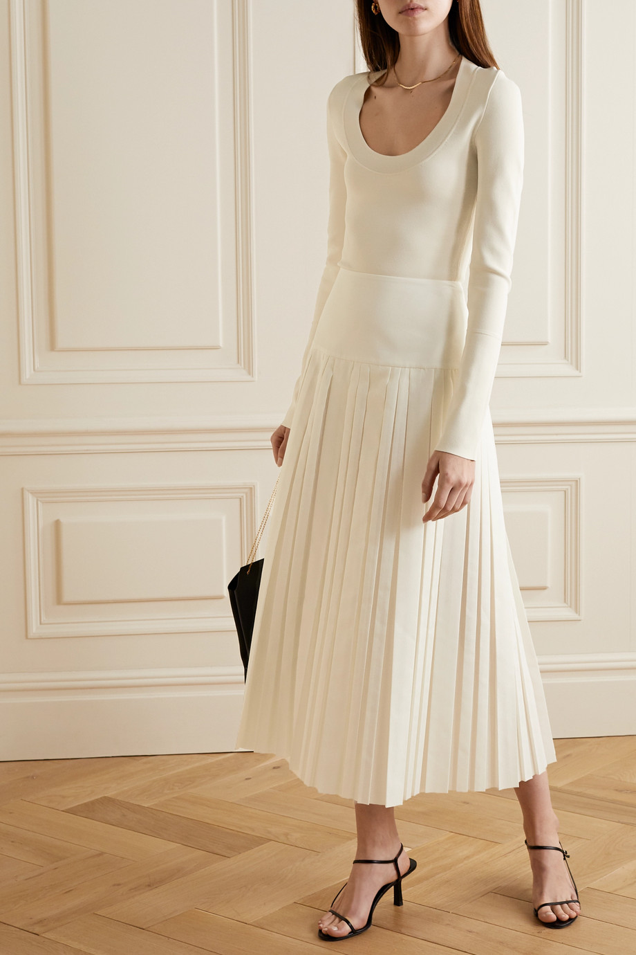 The Row Magdita pleated crepe midi skirt