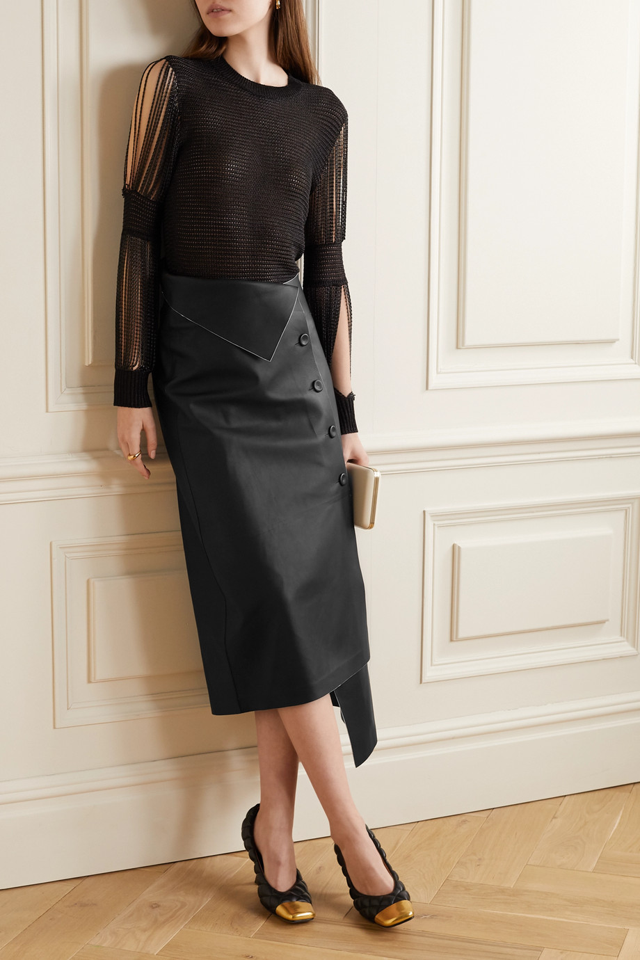 The Row Verna asymmetric leather midi skirt