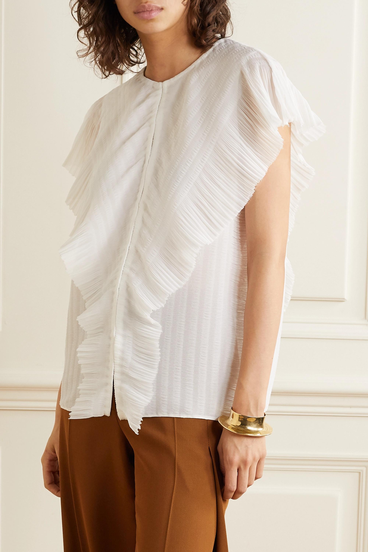 The Row Wiola layered plissé-chiffon blouse
