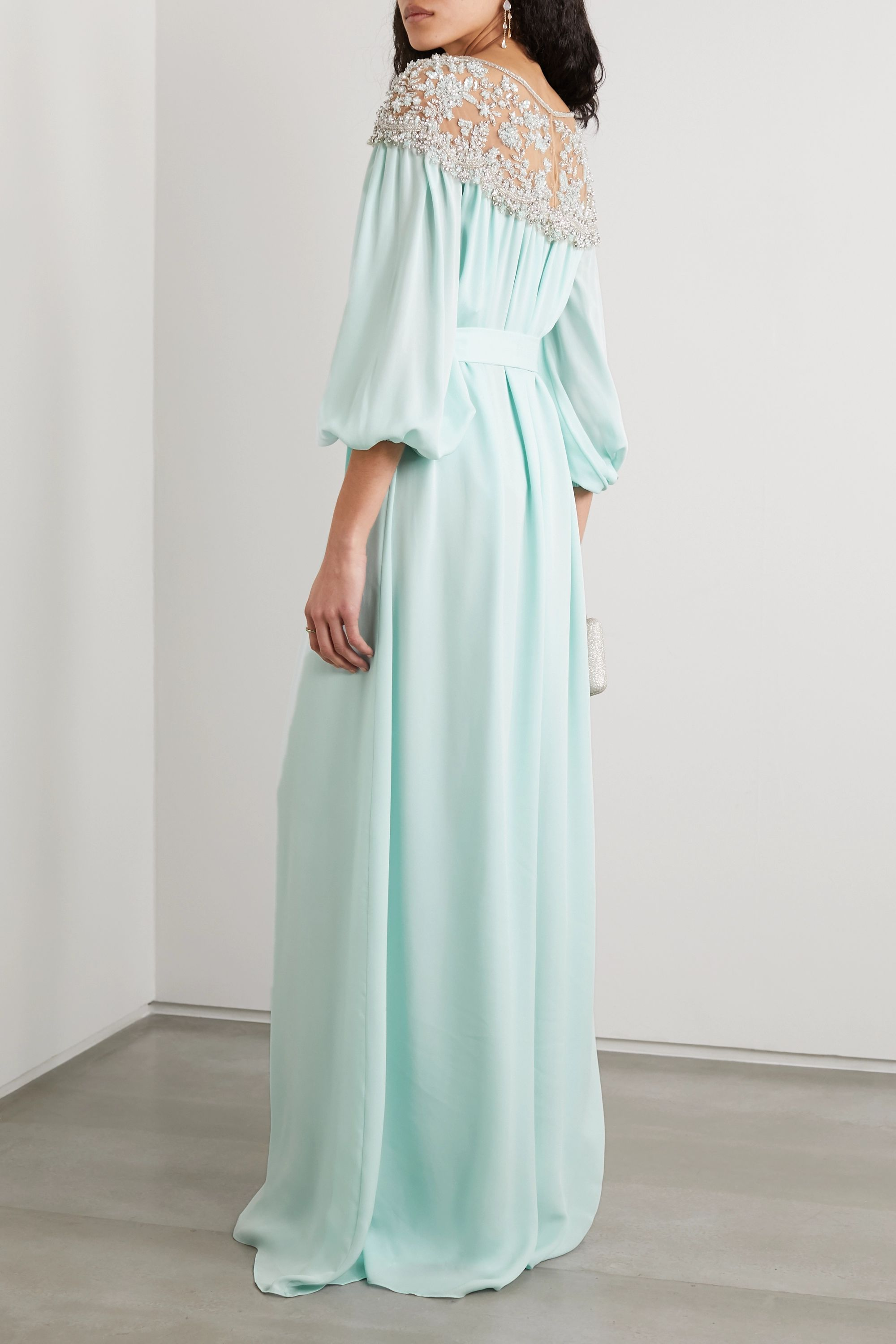 Marchesa Embellished tulle and silk crepe de chine gown