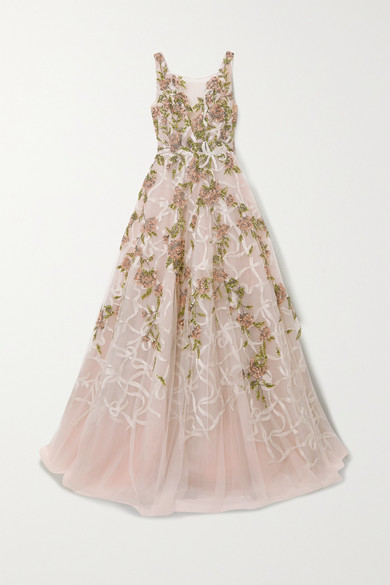 Marchesa EMBELLISHED EMBROIDERED TULLE GOWN