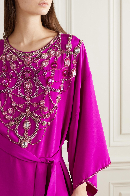 Marchesa Belted crystal-embellished silk-crepe gown