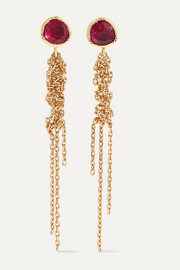 Waterfall 18-karat gold and ruby earrings
