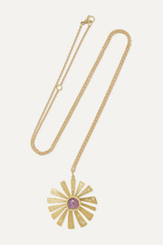 Brooke Gregson Sunflower 18-karat gold, sapphire and diamond necklace