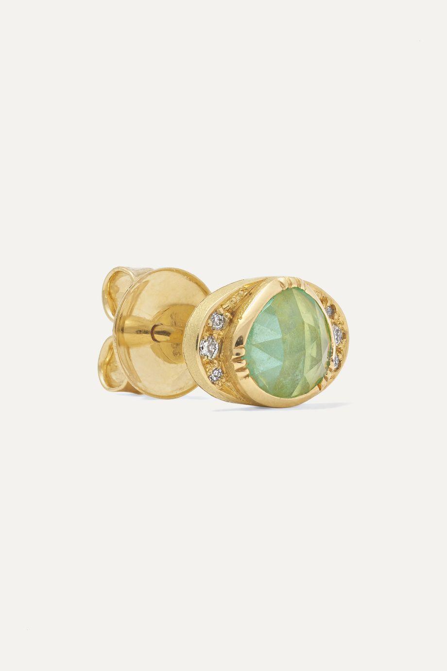 Brooke Gregson Halo 18-karat gold, emerald and diamond earrings