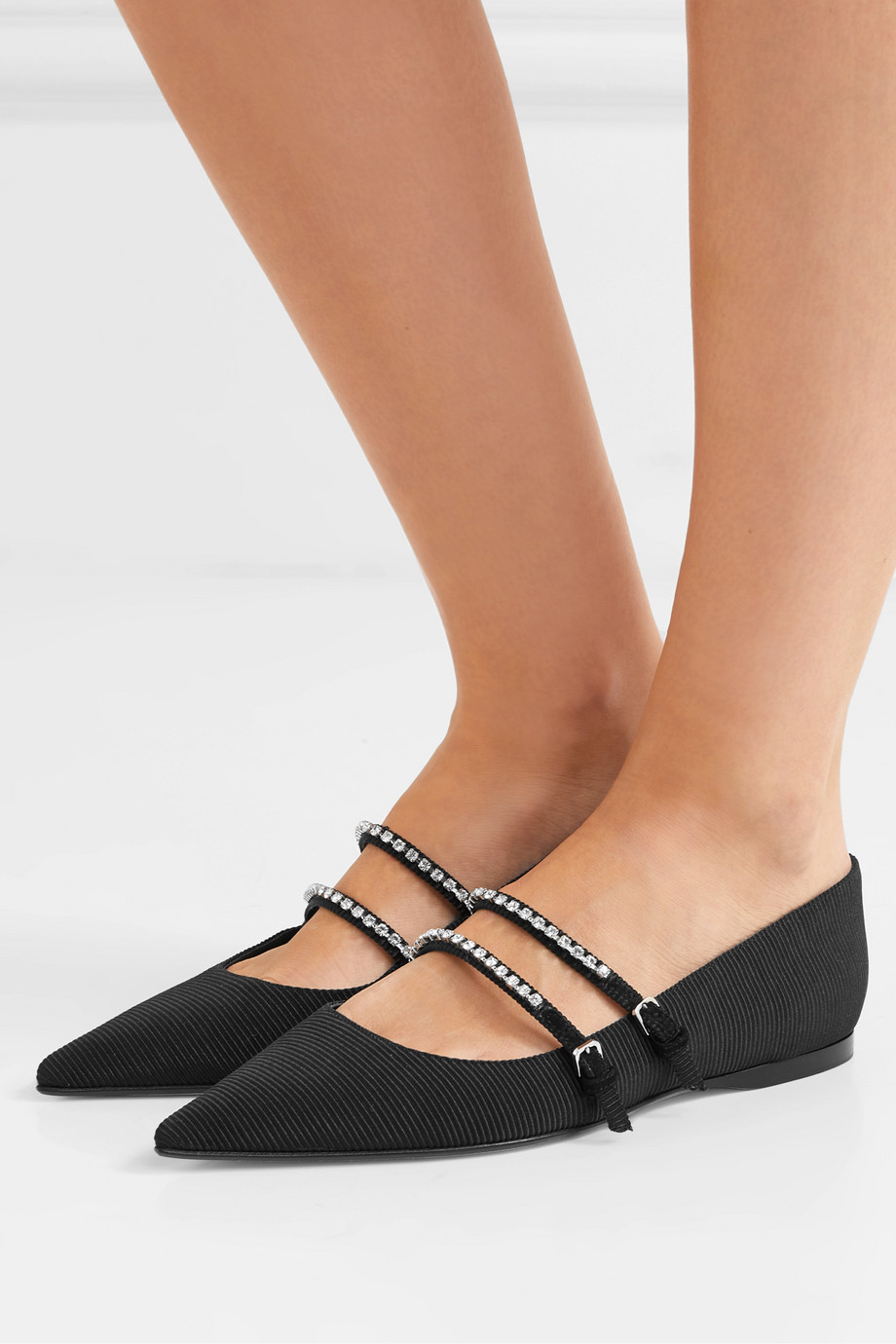 Sergio Rossi Crystal-embellished faille point-toe flats