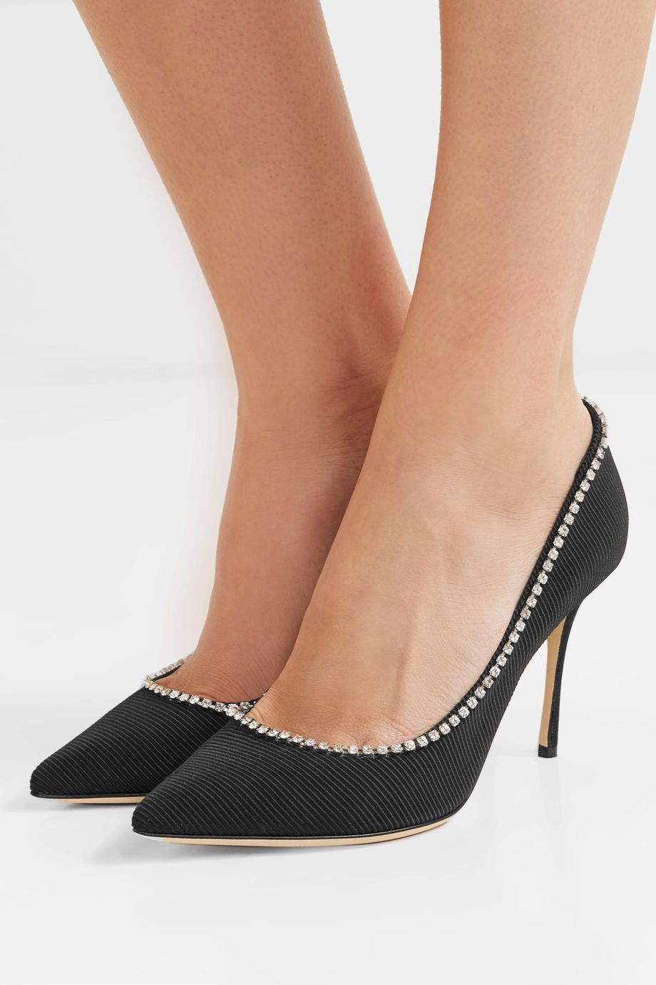 Sergio Rossi Crystal-embellished faille pumps