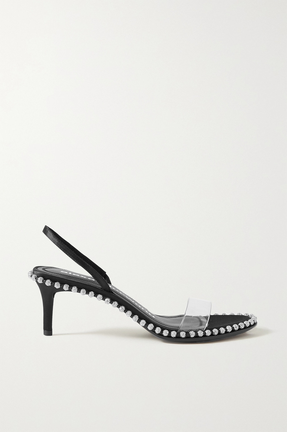Alexander Wang Nova Low crystal-embellished satin and PVC slingback sandals
