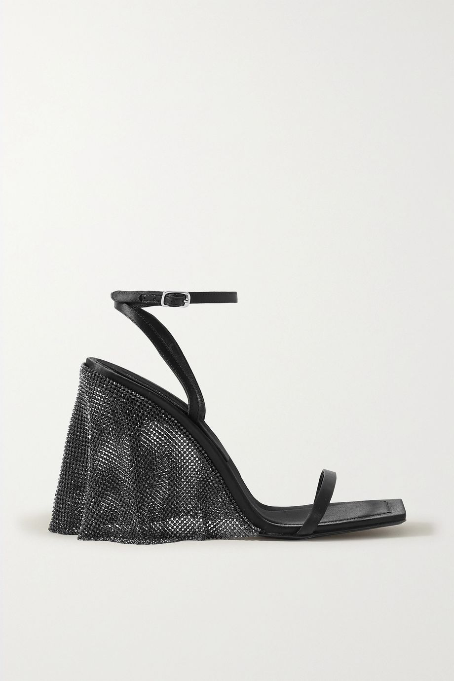 Alexander Wang Blake crystal-embellished chainmail-trimmed satin sandals
