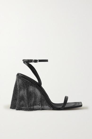 Alexander Wang Blake Crystal-embellished Chainmail-trimmed Satin Sandals In Black