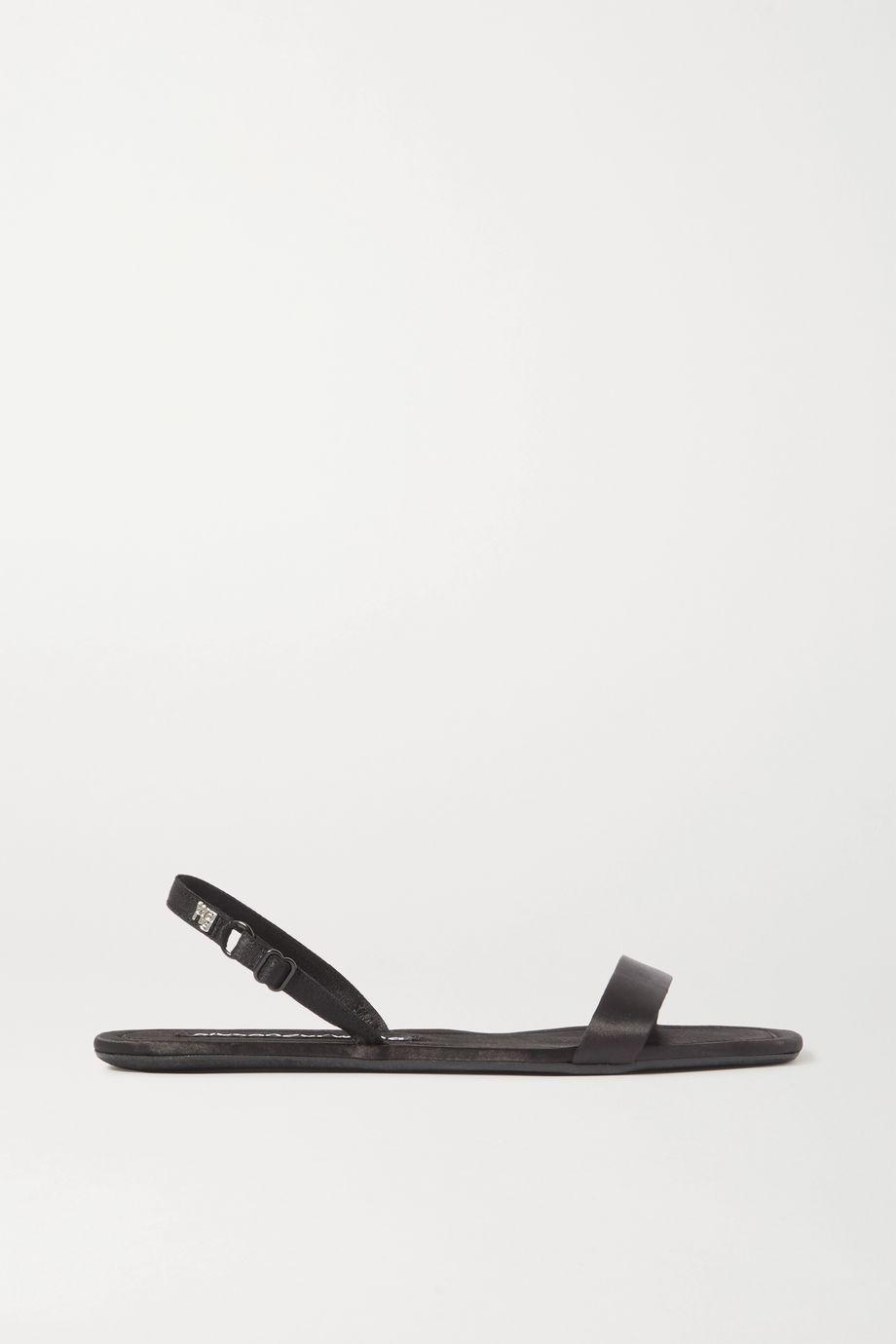 Alexander Wang Ryder logo-embellished satin slingback sandals