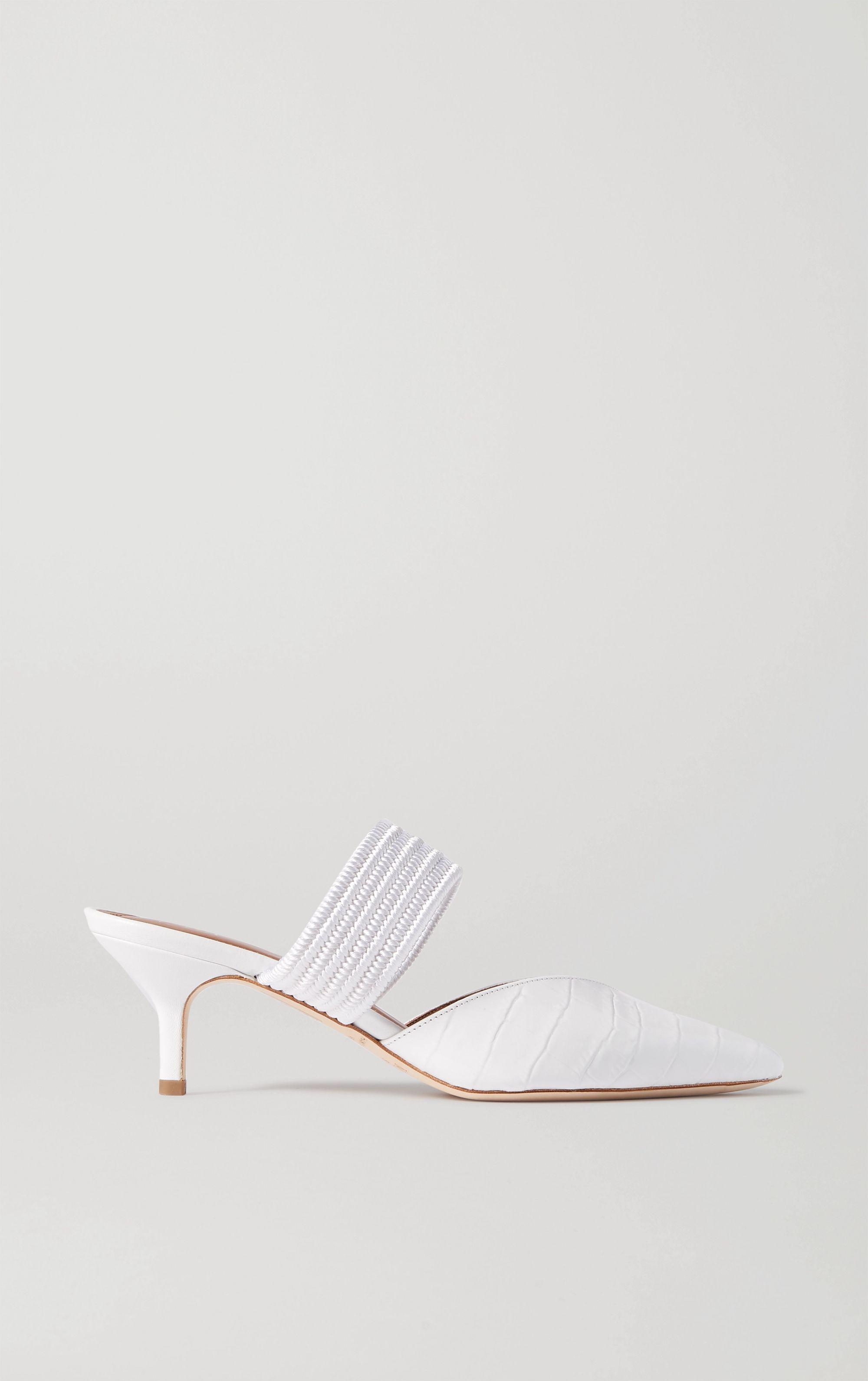 White Maisie cord-trimmed croc-effect