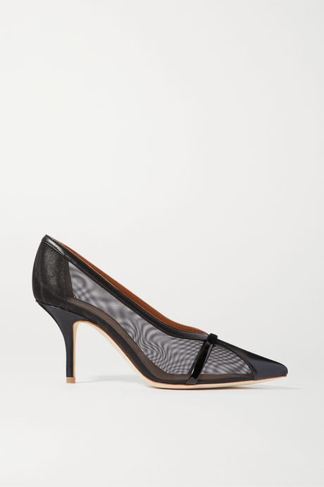 Black Brook 70 patent-trimmed mesh and leather pumps | Malone Souliers UJpaGK