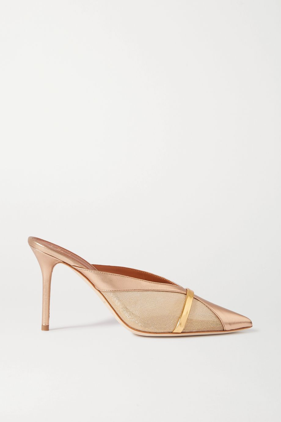 Malone Souliers Bobbi 85 metallic mesh and leather mules