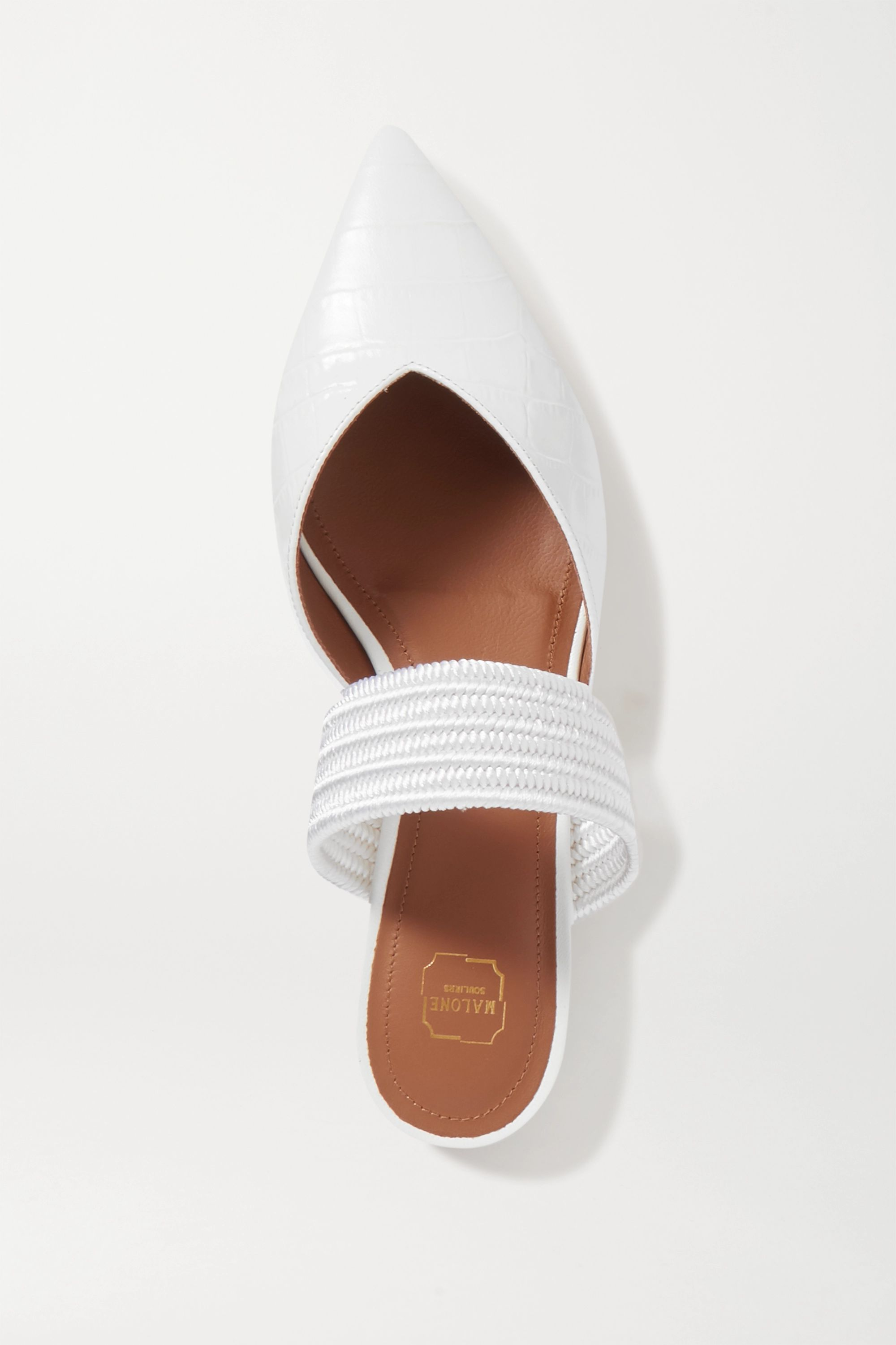 Malone Souliers Maisie cord-trimmed croc-effect leather point-toe flats