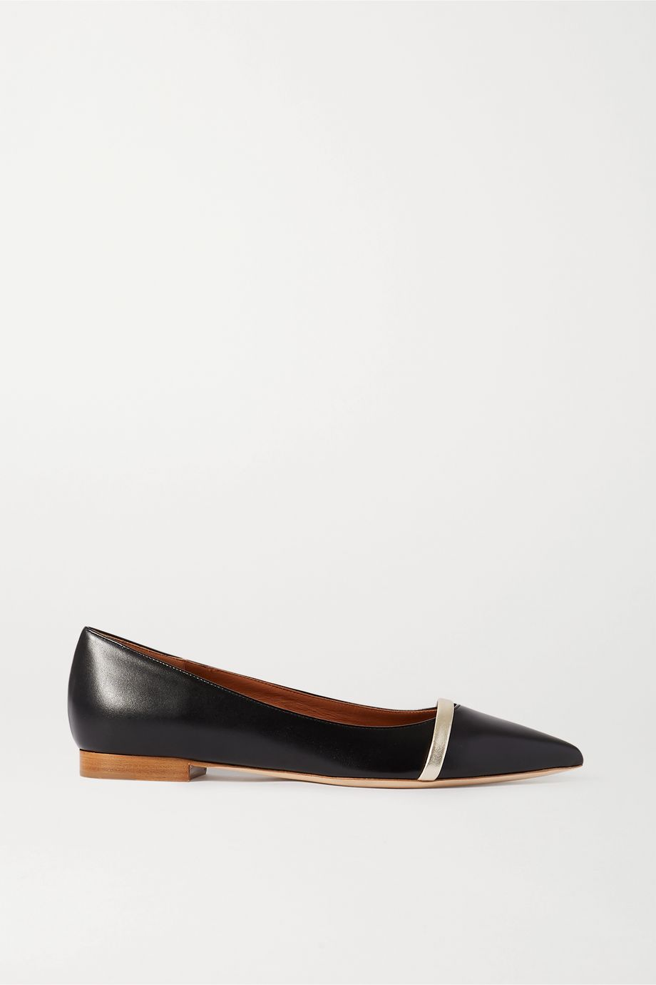Malone Souliers Maybelle metallic-trimmed leather point-toe flats