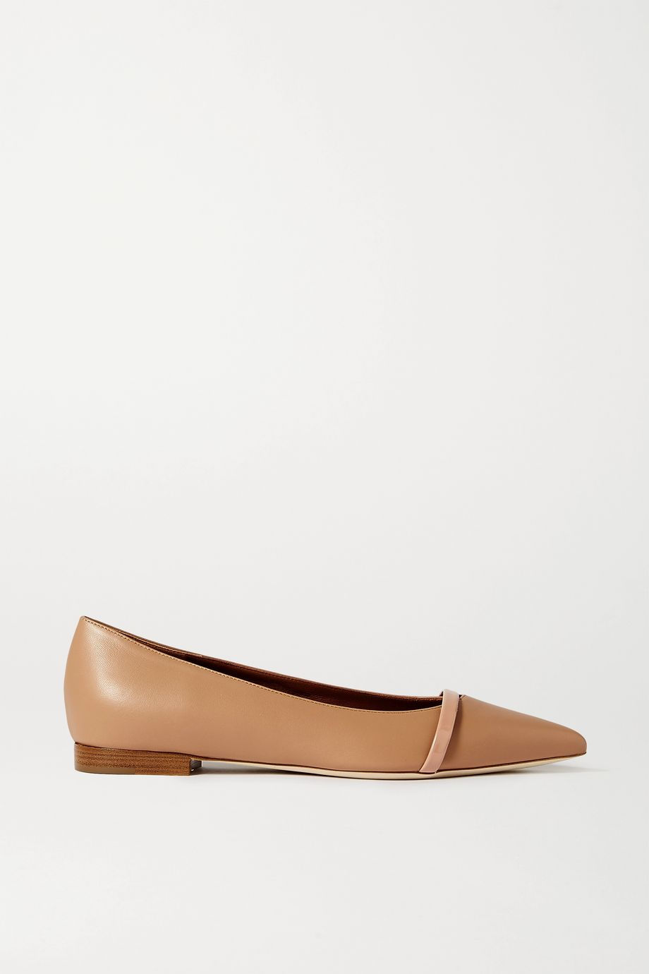 Malone Souliers Maybelle patent-trimmed leather point-toe flats